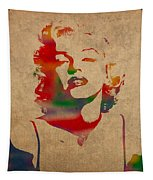 Marilyn Monroe Watercolor Portrait On Worn Distressed Canvas Tapestry by Design Turnpike