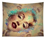 Marilyn Red Lips Digital Painting Tapestry