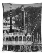 Mark Twain Riverboat Frontierland Disneyland Vertical Bw Tapestry