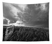 Marker - Black And White Photo Of Stone Marker And Brewing Storm In Kansas Tapestry