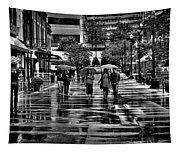 Market Square In The Rain - Knoxville Tennessee Tapestry