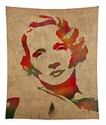 Marlene Dietrich Movie Star Watercolor Painting On Worn Canvas Tapestry