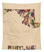 Maryland Map Vintage Watercolor Tapestry