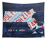 Massachusetts License Plate Map Tapestry