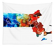 Massachusetts - Map Counties By Sharon Cummings Tapestry