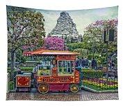 Matterhorn Mountain With Hot Popcorn At Disneyland Textured Sky Tapestry