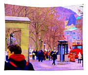 Mcgill Campus Eager Students Enter Roddick Gates Montreal Collectible Art Prints Carole Spandau  Tapestry