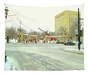 Mcgill University Campus Sherbrooke Street Scene Early Morning Winter Day Montreal Carole Spandau Tapestry