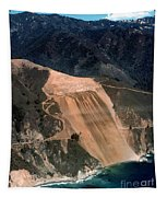 Aerial Of Mcway Landslide Big Sur California 1984 Tapestry