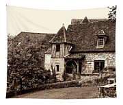 Medieval Cottage In Sarlat Sepia Tapestry