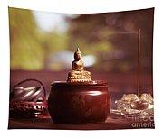 Meditating Buddha Statue Tapestry