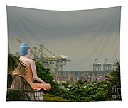 Meditating Buddha Views Container Seaport Singapore Tapestry