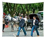 Men And Carriages In A Street Near Saint Sophia's In Istanbul-turkey Tapestry