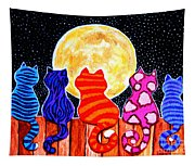 Meowing At Midnight Tapestry