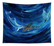 Mermaids Dolphin Buddy Tapestry