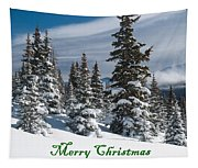 Merry Christmas - Winter Trees And Rising Clouds Tapestry