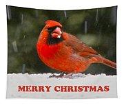 Merry Christmas Cardinal Tapestry
