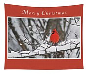 Merry Christmas Male Cardinal Tapestry