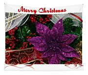 Merry Christmas Red Ribbon Tapestry