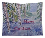 Merry Christmas - Snowy Winter Path Tapestry