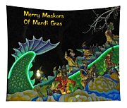 Merry Maskers Of Mardi Gras Tapestry