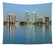 Miami Brickell Skyline Tapestry