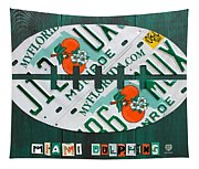 Miami Dolphins Football Recycled License Plate Art Tapestry