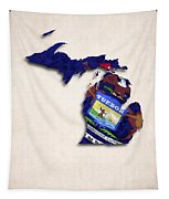 Michigan Map Art With Flag Design Tapestry