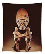 Mictlantecuhtli Lord Of Mictlan Remojadas Style, From Los Cerros, Tierra Blanca, Vera Cruz Pottery Tapestry