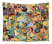 Mid Century Mushroom Madness Tapestry