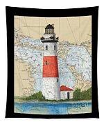 Middle Island Lighthouse Mi Cathy Peek Nautical Chart Art Tapestry