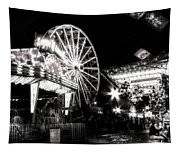 Midway Attractions In Black And White Tapestry