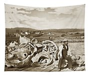 Mike Noon Monterey Whaler On Montereys Wharf  Circa 1890 Tapestry