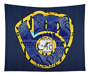 Milwaukee Brewers Vintage Baseball Team Logo Recycled Wisconsin License Plate Art Tapestry