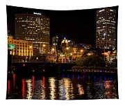 Milwaukee River And Downtown Skyline Tapestry