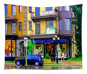 Mimi And Coco Clothing Boutique Laurier In The Rain  Plateau Montreal City Scenes Carole Spandau Art Tapestry
