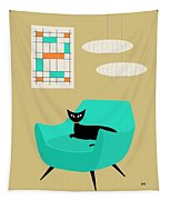 Mini Abstract With Aqua Chair Tapestry