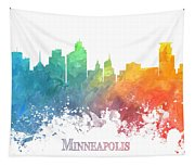 Minneapolis Skyline Colored Tapestry