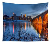 Minneapolis Skyline Images Stone Arch Bridge Spring Evening Tapestry
