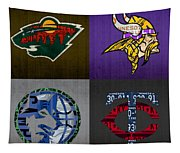 Minneapolis Sports Fan Recycled Vintage Minnesota License Plate Art Wild Vikings Timberwolves Twins Tapestry