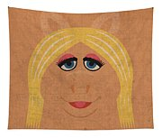 Miss Piggy Vintage Minimalistic Illustration On Worn Distressed Canvas Series No 011 Tapestry