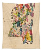 Mississippi Map Vintage Watercolor Tapestry