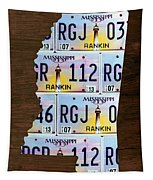 Mississippi State License Plate Map Art Tapestry