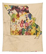 Missouri Map Vintage Watercolor Tapestry