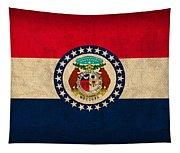 Missouri State Flag Art On Worn Canvas Tapestry