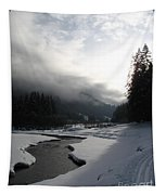 Mist Over A Snowy Valley Tapestry