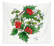 Mistletoe And Holly Wreath Tapestry