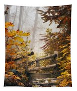 Misty Footbridge Tapestry