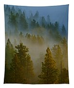 Misty Morning In The Pines Tapestry