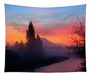 Misty Mountain Morning Tapestry